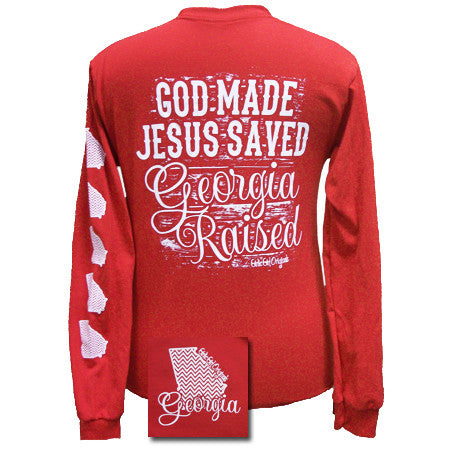 SALE Georgia Raised, Jesus Saved Chevron State Girlie Bright Long Sleeves T Shirt