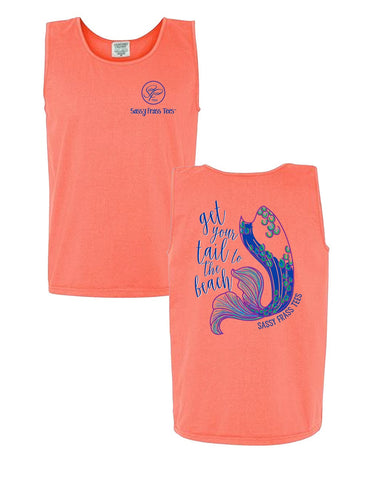Sassy Frass Get Your Tail to the Beach Mermaid Comfort Colors Bright T Shirt Tank Top