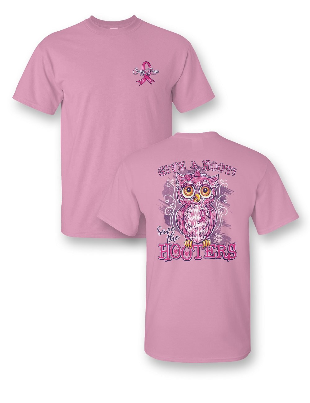 Sassy Frass Give a Hoot Save the Hooters Owl Breast Cancer Pink Ribbon Bright Girlie T Shirt