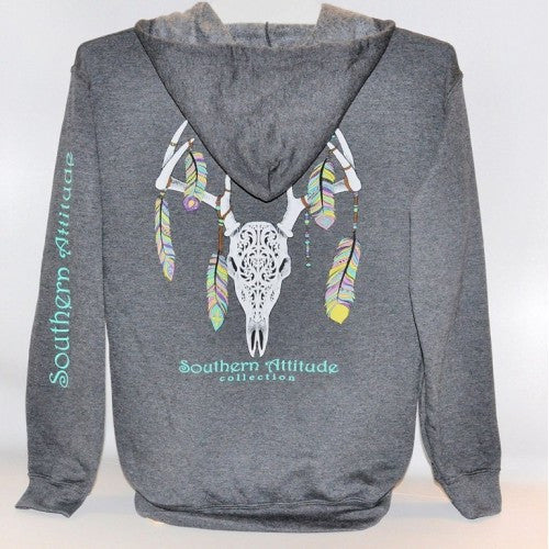 Southern Attitude Preppy Feather Deer Skull Gray Hoodie Pullover T-Shirt
