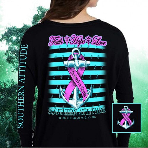 Southern Attitude Faith Hope Anchor Breast Cancer Black Long Sleeve T-Shirt