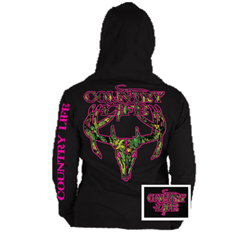 Country Life Outfitters Black & Pink Camo Realtree Deer Skull Head Hunt Vintage Hoodie - SimplyCuteTees