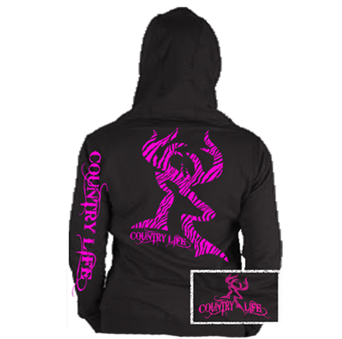 Country Life Outfitters Black & Pink Zebra Deer Head Hunt Vintage Bright Hoodie - SimplyCuteTees