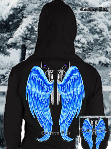 Country Life Outfitters Wings Guns Vintage Black & Blue Bright Girlie Hoodie - SimplyCuteTees