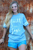 Sassy Frass Faith Over Fear Arrow Christian Gray Vintage Jersey Girlie Bright T Shirt
