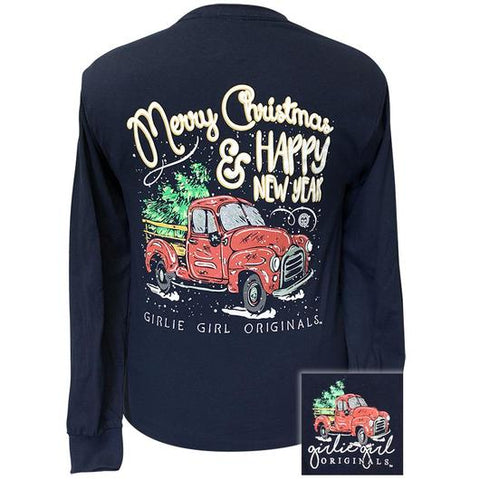 Navy T-Shirt Merry Christmas Shirt Vintage Red Truck with Tree Black