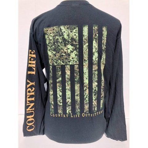 Country Life Outfitters Vintage USA Camo Flag Unisex Long Sleeve T-Shirt