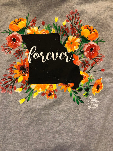SALE Sassy Frass Missouri Forever Flowers MO State Design Girlie Long Sleeve Bright T Shirt