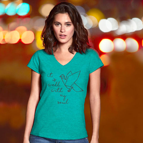 Cherished Girl Grace & Truth Well With My Soul Bird V-Neck Girlie Christian Bright T Shirt