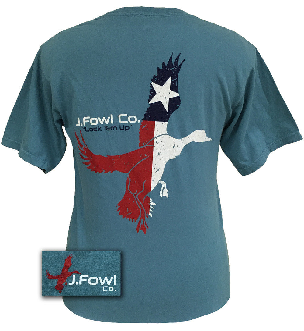 J. Fowl Co. Lock Em Up Texas Flag Duck Bird Authentic Pigment Smoke Unisex Bright T-Shirt - SimplyCuteTees