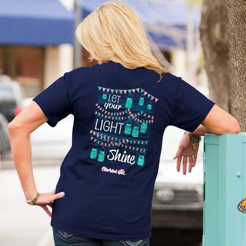 Cherished Girl Let Your Light Shine Mason Jar Christian Girlie Christian Bright T Shirt