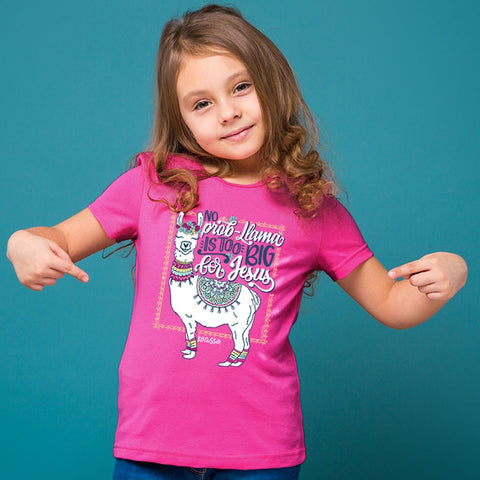 Cherished Girl No Prob Llama Is Too Big for Jesus Christian Toddler Youth Bright T Shirt
