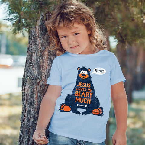 Kerusso Jesus Loves Me Beary Much Christian Baby Toddler Youth Bright T Shirt