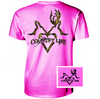Country Life Outfitters Pink Deer Kiss Heart Love Hunt Vintage Bright T Shirt - SimplyCuteTees