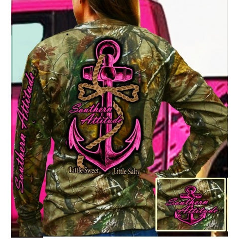 Country Life Southern Attitude Pink Bone Realtree Camo Anchor Bow Long Sleeve  T-Shirt - SimplyCuteTees