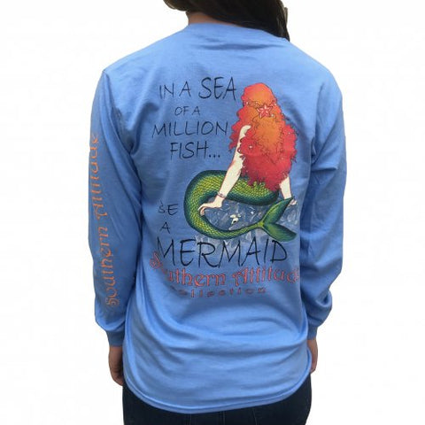 Southern Attitude Preppy Be A Mermaid Long Sleeve T-Shirt