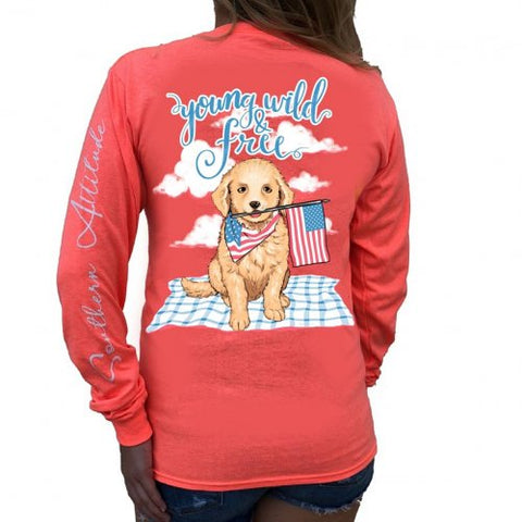 Southern Attitude Preppy Young Wild Free USA Puppy Long Sleeve T-Shirt