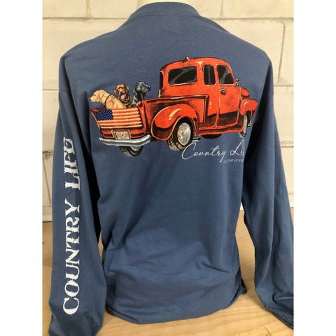 Country Life USA Dog Truck Indigo Unisex Long Sleeve T-Shirt