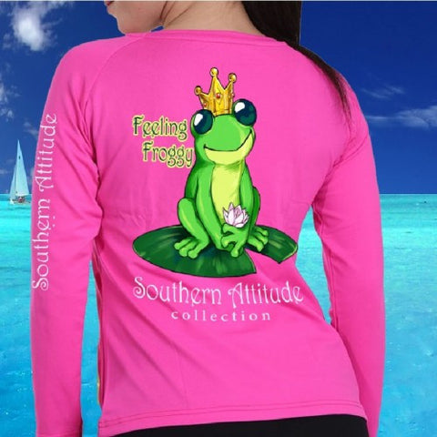 Southern Attitude Preppy Frog Lilly Pad Garment Dyed Long Sleeve T-Shirt