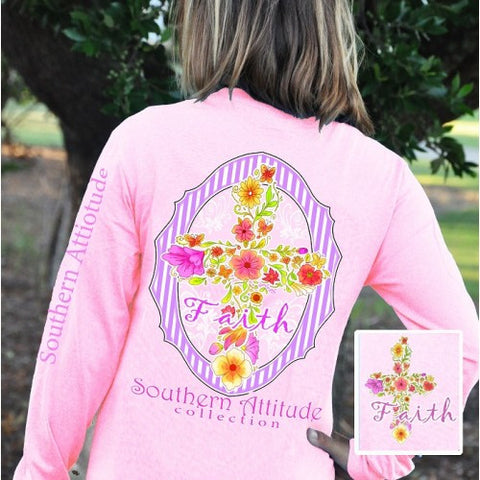 Southern Attitude Preppy Faith Flower Cross Pink Long Sleeve T-Shirt