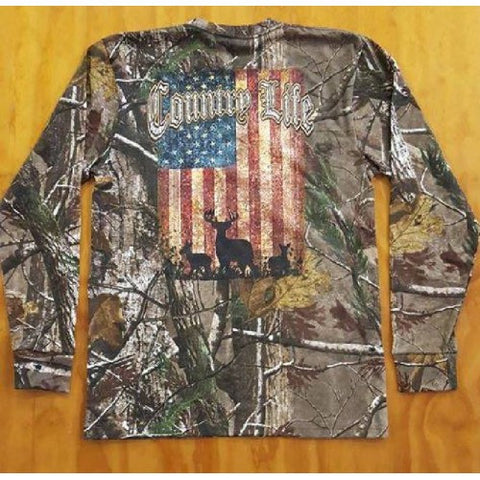 Country Life Real Tree Camo USA Flag Deer Unisex Long Sleeve T-Shirt