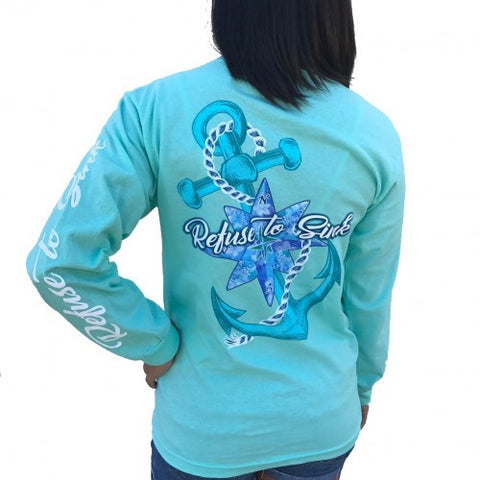 Southern Attitude Preppy Refuse To Sink Anchor Seafoam Long Sleeve T-Shirt