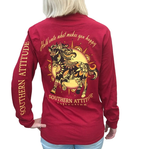 Southern Attitude Preppy Wild Horse Red Long Sleeve T-Shirt