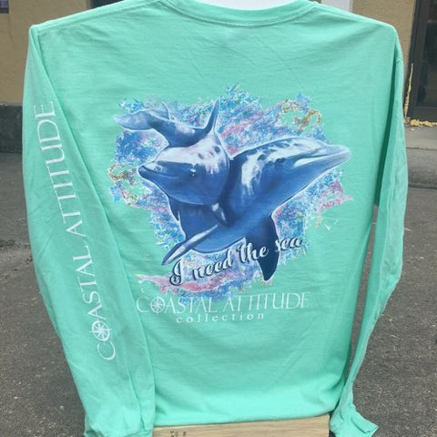 Southern Attitude Preppy Watercolor Dolphin Sea Foam Comfort Colors Long Sleeve T-Shirt