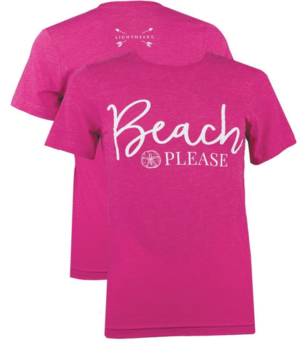 Southern Couture Lightheart Beach Please Triblend Front Print T-Shirt
