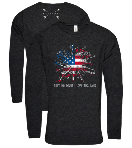 Southern Couture Lightheart USA Love this Land Triblend Front Print Long Sleeve T-Shirt - SimplyCuteTees
