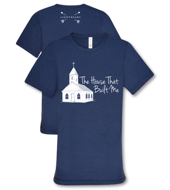 Southern Couture Lightheart House That Built Me Church Christian Triblend Front Print T-Shirt