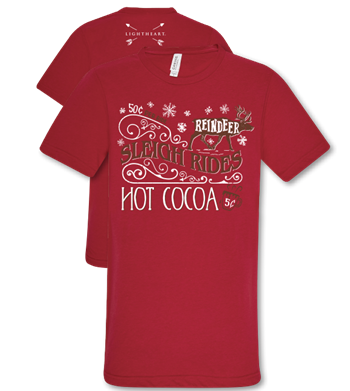 Southern Couture Lightheart Sleigh Rides Hot Cocoa Christmas Triblend Front Print T-Shirt - SimplyCuteTees
