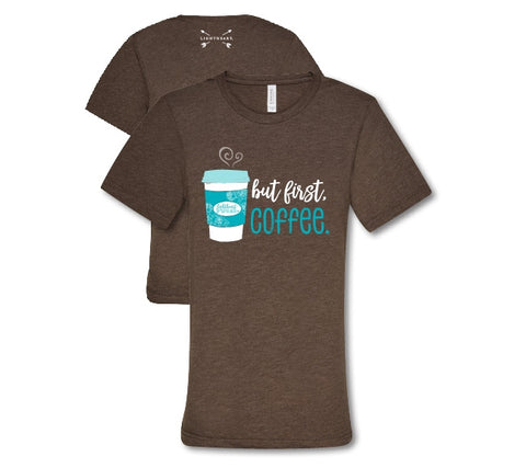 Southern Couture Lightheart But First Coffee Triblend Front Print T-Shirt
