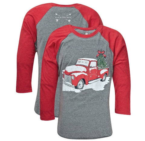 Southern Couture Lightheart Merry Christmas Truck Front Print Triblend Long Sleeve T-Shirt - SimplyCuteTees