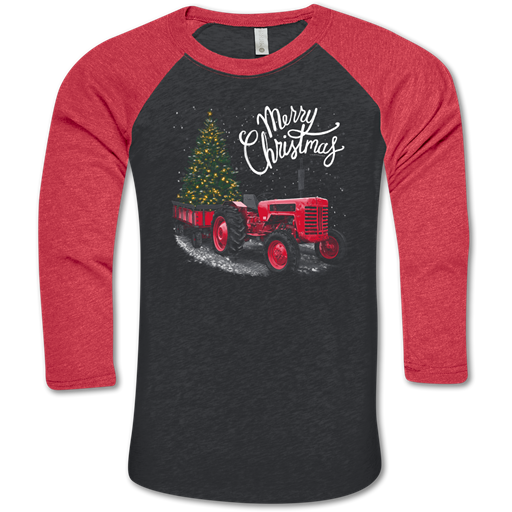 Southern Couture Lightheart Merry Christmas Tractor Raglen Long Sleeve T-Shirt