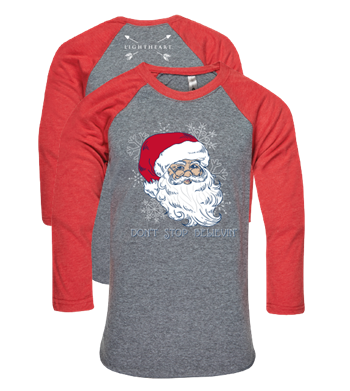 Southern Couture Lightheart Don't Stop Believin Santa Christmas Triblend Front Print Raglan Long Sleeve T-Shirt