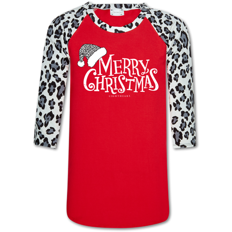 Couture Lightheart Leopard Merry Christmas Raglan Long Sleeve T-Shirt