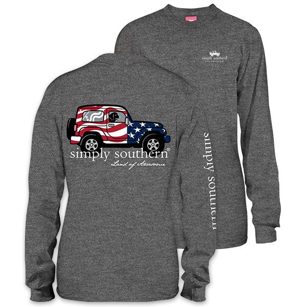 21ff9baebc4 Simply Southern Preppy America Jeep Long Sleeve T-Shirt
