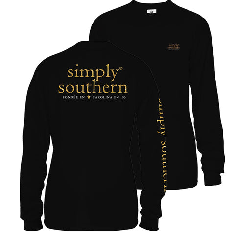 Simply Southern Preppy Classic Logo Black Long Sleeve T-Shirt