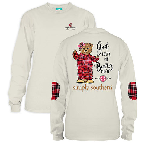 bd70704eda014 Simply Southern God Loves Me Beary Much Long Sleeve T-Shirt