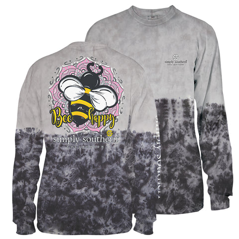 Simply Southern Preppy Bee Happy Smokey Tiedye Long Sleeve T-Shirt