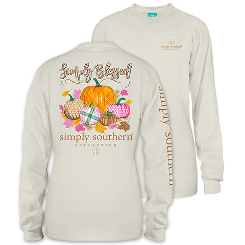 Simply Southern Preppy Simply Blessed Pumpkin Fall Long Sleeve T-Shirt