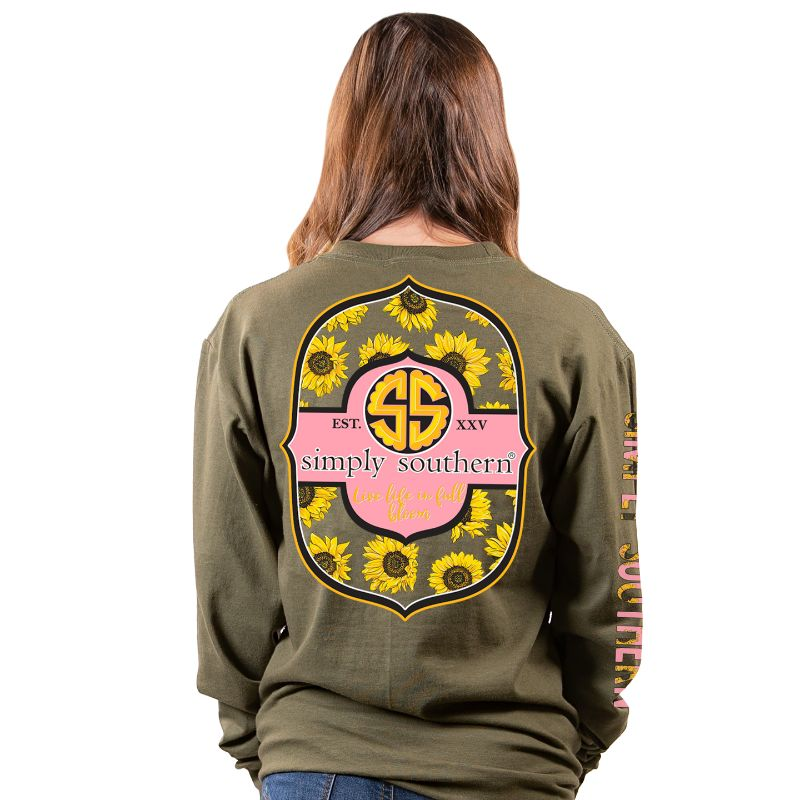 Simply Southern Preppy Bloom Sunflower Long Sleeve T-Shirt