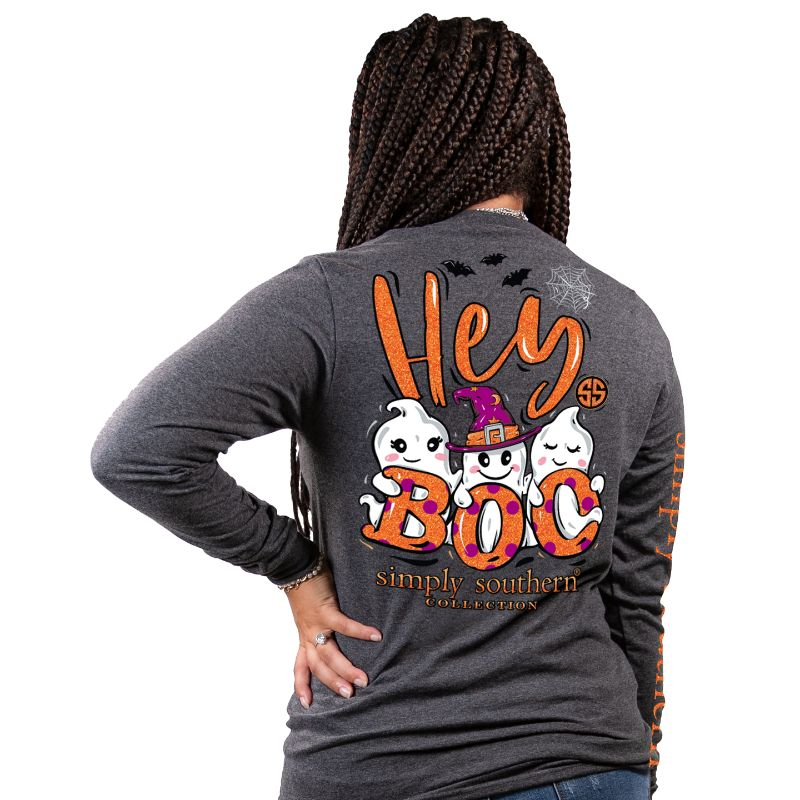 Simply Southern Hey Boo Halloween Fall Long Sleeve T-Shirt