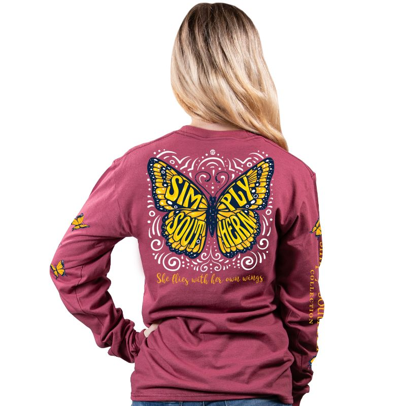 Simply Southern Preppy Butterfly Logo Long Sleeve T-Shirt