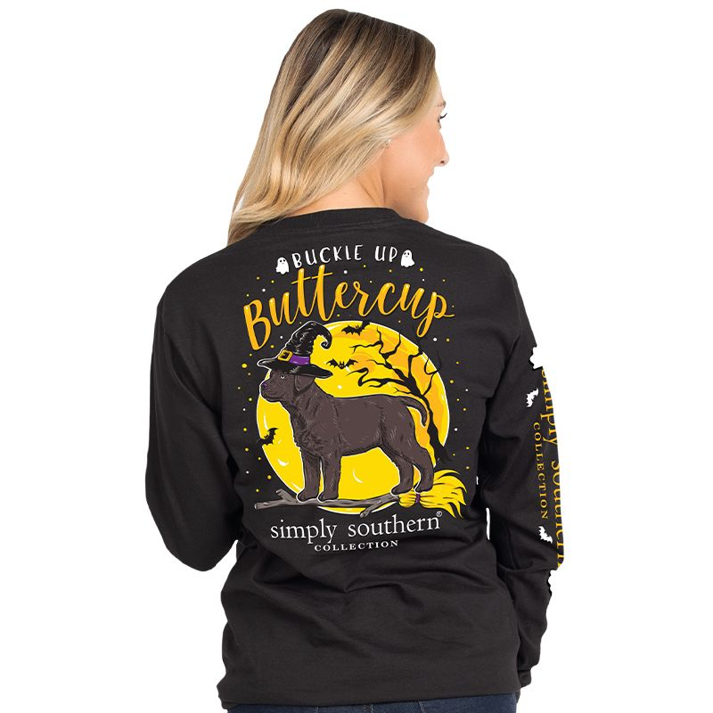 Simply Southern Buckle Up Buttercup Dog Halloween Long Sleeve T-Shirt