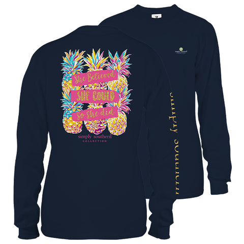 Simply Southern Preppy She Believed Pineapples Long Sleeve T-Shirt