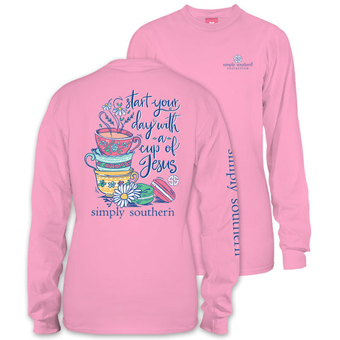 Simply Southern Preppy Cup Of Jesus Long Sleeve T-Shirt