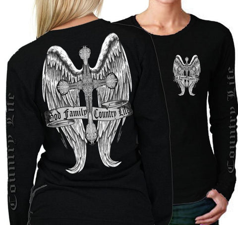 Country Life Outfitters Wings Cross God Faith Family Vintage Black Long Sleeve Bright T Shirt - SimplyCuteTees