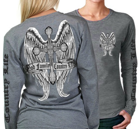 Country Life Outfitters Wings Cross God Faith Family Vintage Gray Long Sleeve Bright T Shirt - SimplyCuteTees